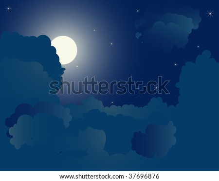 Blue night background - vector illustration