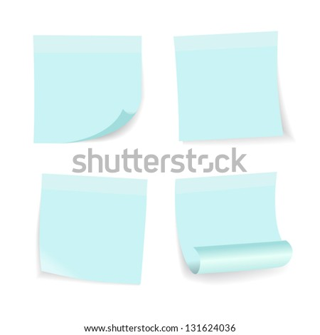 blue note set on white background, vector. - stock vector