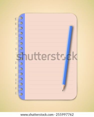 Blue Notebook and pencil vector - stock vector