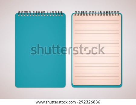 Blue Notebook Cover Vector - stock vector