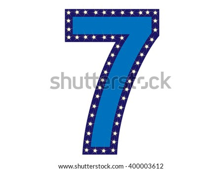 Blue number 7 (Seven) with yellow star, vector illustration. can be used for christmas / happy birthday / happy new year and more.