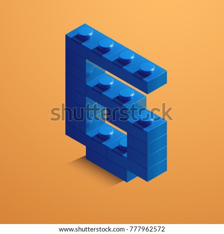 Blue number six of constructor bricks on yellow background. 3d number six