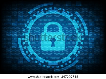 Blue of ring and gears with key lock inside on binary code background. Vector illustration security technology concept.
