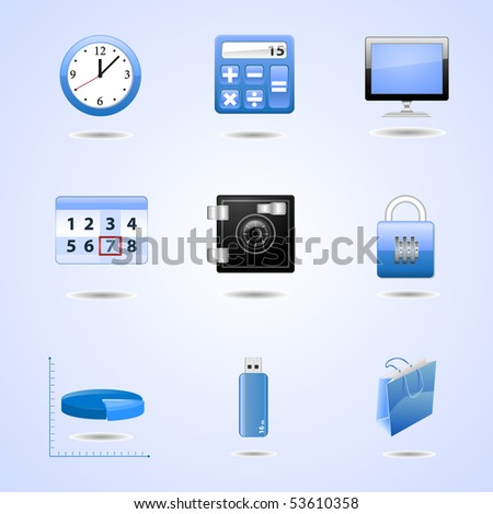 Blue office icons