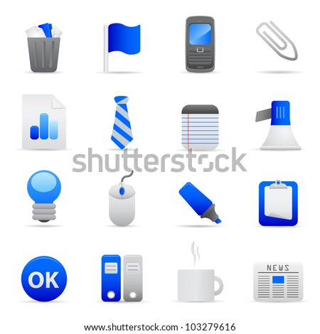 Blue Office Icons Professional vector set of office for your website, application, or presentation. The graphics can easily be edited colored individually and be scaled to any size - stock vector