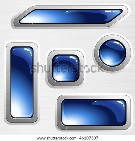 Blue on grey brushed steel banners and buttons (EPS10); JPG version also available - stock vector