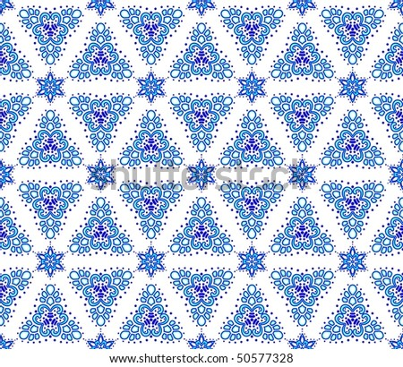 Blue on white seamless arabesque (Eps10); JPG version also available