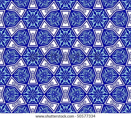 Blue on white seamless arabesque (Eps10); JPG version also available - stock vector