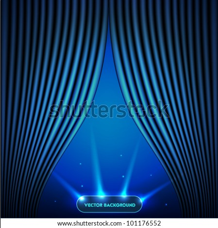 Blue open the curtain with a view of outer space - stock vector