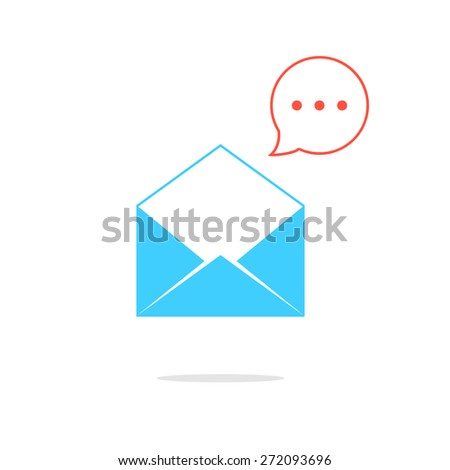 blue opened letter with red speech bubble. concept of sms, spam, writing, postcard, salutation, chatting, mailbox, textual talking, checking email. flat style modern logo design vector illustration - stock vector