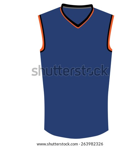 Blue, orange and black basketball jersey vector isolated, basketball t- shirt, basketball uniform - stock vector