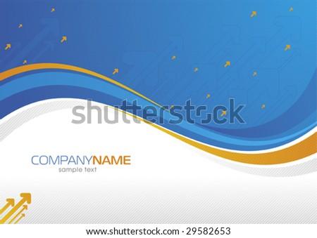 Blue orange wave and arrows - stock vector