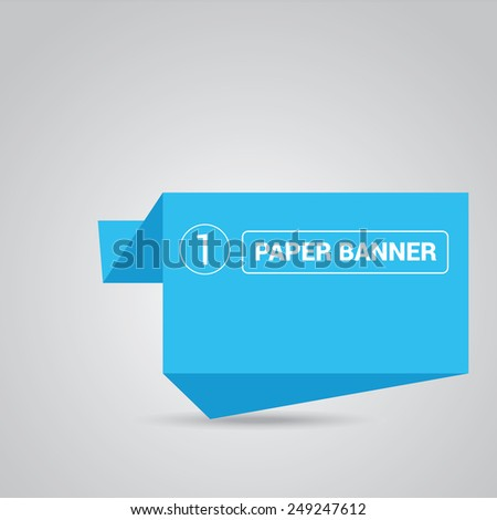 blue origami paper speech bubble or web banner .vector illustration - stock vector