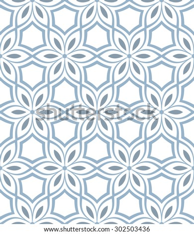 Blue ornament seamless pattern with stroke flowers