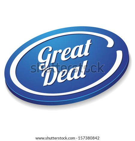 Blue oval great deal button - stock vector