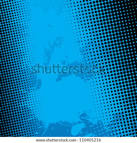 Blue paint splatter textured vector background with black halftone dots. - stock vector