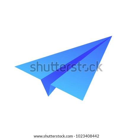 Blue paper airplane vector cartoon illustration isolated on white background. Square layout.