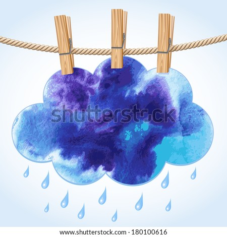 Blue paper cloud hanging by clothes peg on a clothesline - stock vector