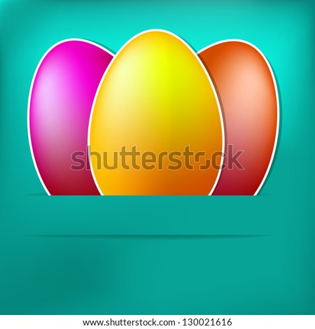 Blue Paper Easter egg card.  + EPS10 vector file - stock vector