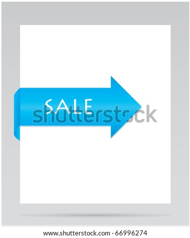 blue paper tag - stock vector