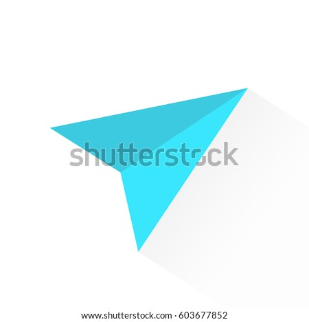 Blue paper vector airplane. Vector illustration