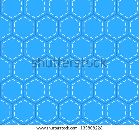 Blue patchwork hexagon stitched quilt seamless pattern, vector - stock vector