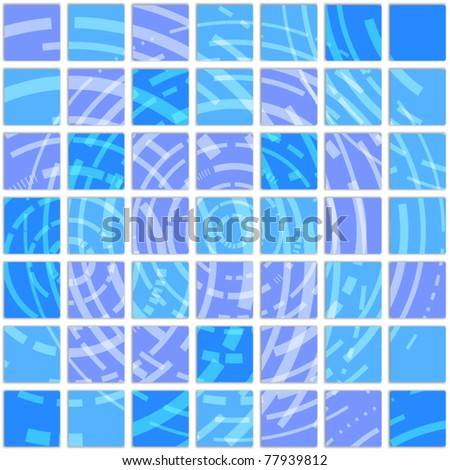 Blue pattern of tile - stock vector
