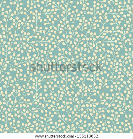 Blue pattern of yellow small branches - stock vector