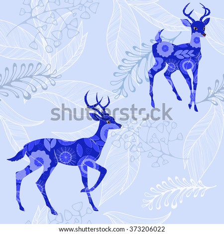 Blue pattern with deer and floral pattern