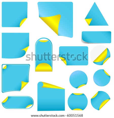 Blue pealing paper with yellow corners, isolated on white vector - stock vector