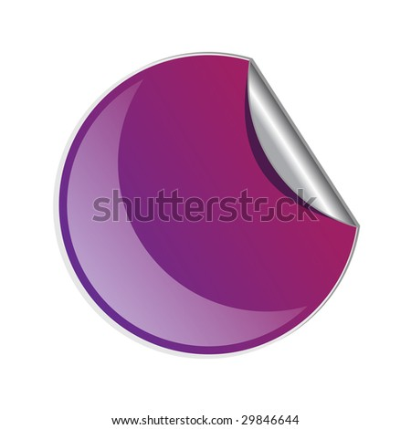 Blue peel off sticker isolated on a white background with shine
