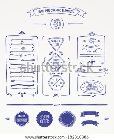Blue pen graphic elements - stock vector