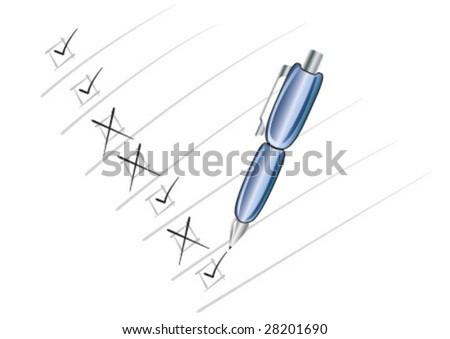 Blue pen makes to do list - stock vector