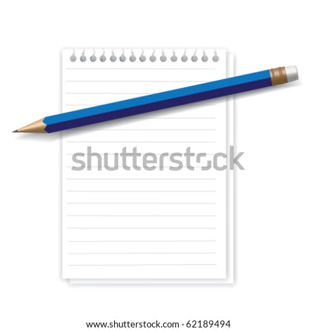 Blue pencil and two white sheets illustration - stock vector