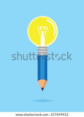 Blue pencil Bulb means to creative idea - stock vector