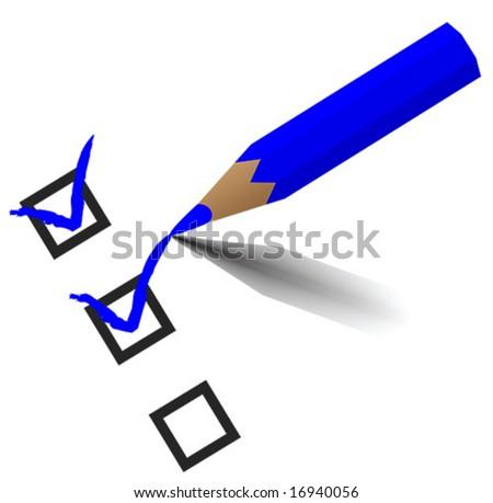 Blue Pencil checking - stock vector
