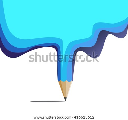 Blue pencil education designs concept with blank for text - stock vector