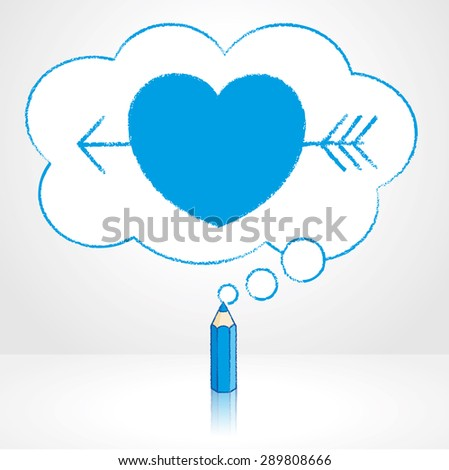 Blue Pencil with Reflection Drawing Cupid's Arrow through Heart Icon in Fluffy Cloud Shaped Think Bubble on Grey Background - stock vector