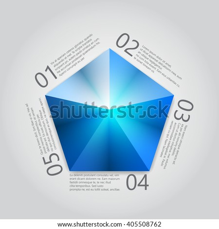 Blue Pentagon infographics. Vector illustration - stock vector