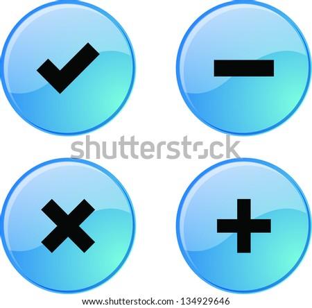 Blue permission buttons set vector illustration - stock vector