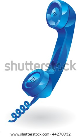 blue phone receiver. vector design - stock vector