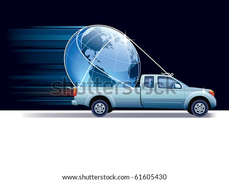 Blue pick-up truck delivers earth globe, black and white background.