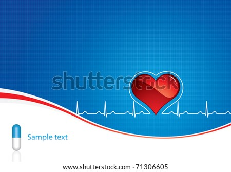 Blue pills, heartbeat on blue medical background - stock vector