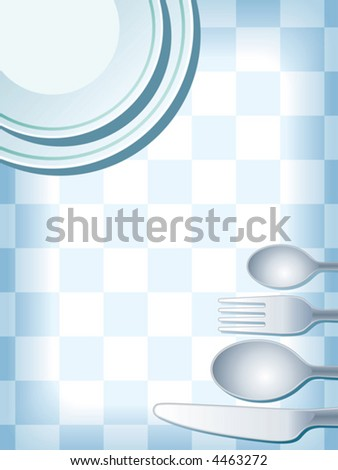 Blue place setting with plate, fork, spoon and knife, vector.