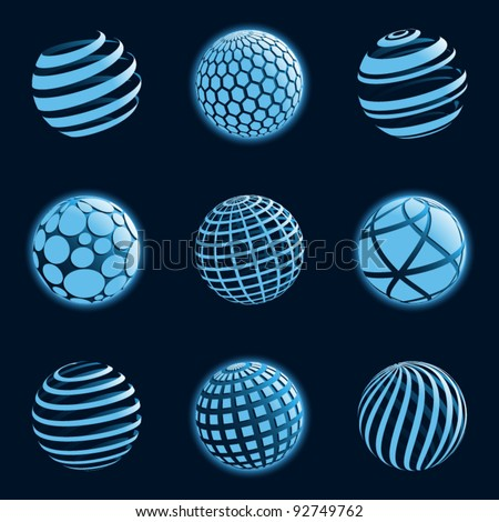 Blue planet icons. Vector illustration. - stock vector