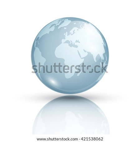 Blue planet isolated on white background. Planet Earth. Cosmic body. The terrestrial sphere. Astronomy.  Globe. Glass globe with world map. Vector background.