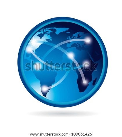 blue planet with shadow over white background. vector illustration - stock vector