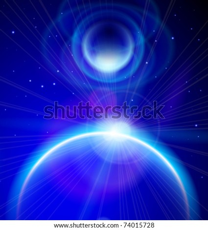 Blue Planets, sunrise & stars in the depths of space. Eps10 - stock vector
