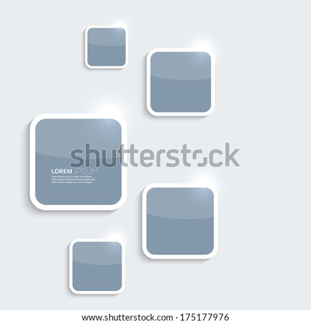 Blue plastic shiny, glossy boxes on gray background. Blanks for the Internet, the Web site of comics, ads, alert dialog - stock vector