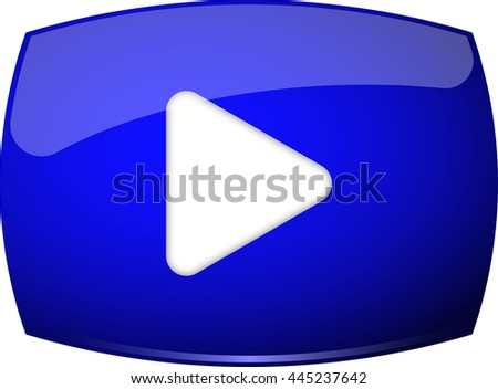 Blue play button icon. Vector illustration